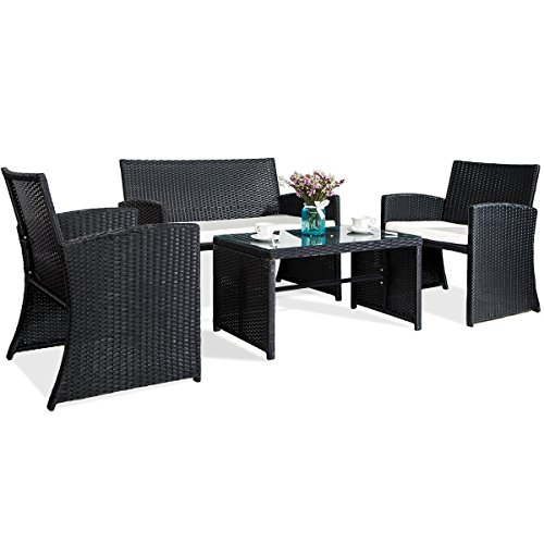 Merax 4 PC Outdoor Garden Rattan Patio Furniture Set Cushioned Seat Wicker Sofa (Black) (Patio Furniture Porch Ideas)