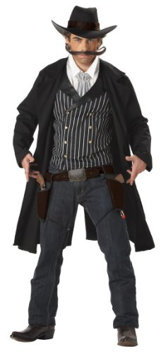 Western Costumes (California Costumes Men's Gunfighter,Black/White,X-Large)