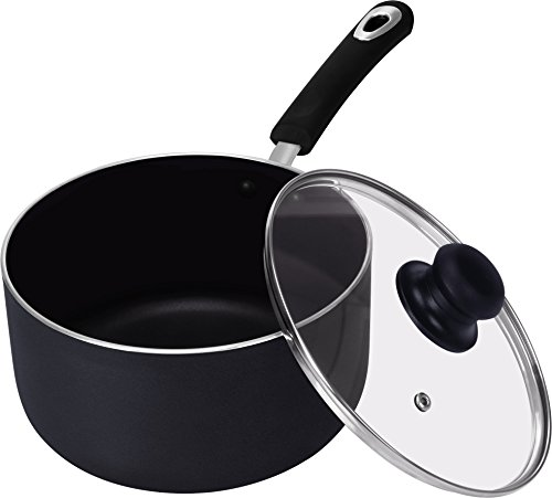 Utopia Kitchen 3 Quart Premium Aluminum Alloy Saucepan with Lid - 8 Inches - Riveted Handle - Multipurpose Use for Home Kitchen or Restaurant by Utopia Kitchen