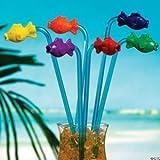 Fun Express Plastic Tropical Fish Straws  - Pack of 12