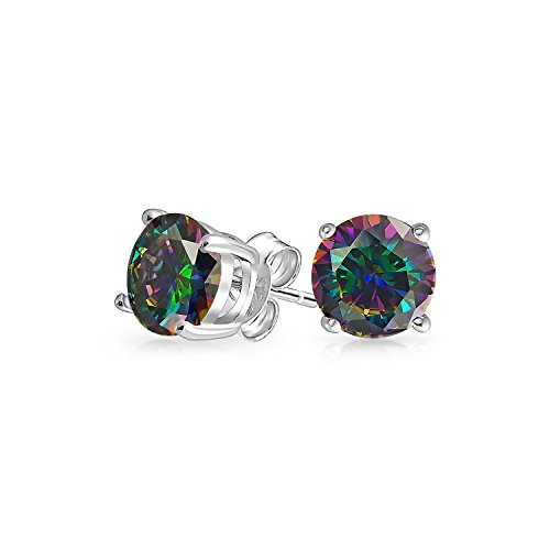 - .50 CT Round Black Mystic Rainbow Cubic Zirconia Solitaire CZ Stud Earrings 925 Sterling Silver 5MM