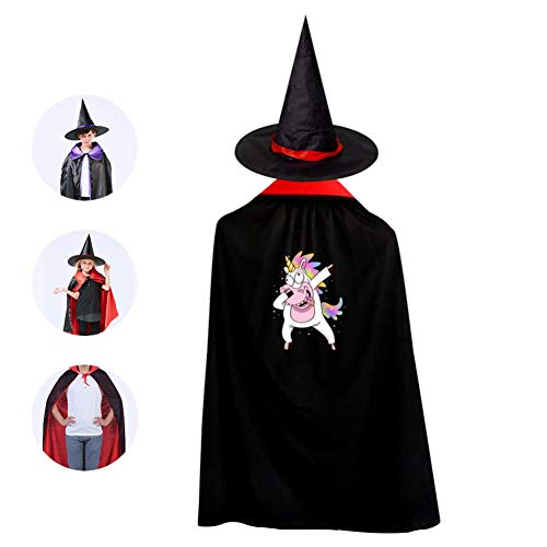 Halloween Kids Funny Unicorn Dabbing Wizard Witch Cape With Hat Cloak for Party Christmas Costume Cosplay -
