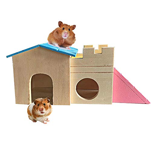 Syrian Hamster House Playground Dwarf Hamster House Durable Odorless Deluxe Two Layers Wooden Hut for Hamster Toys Natural Living Wooden Castle, Small Animal Playground Toy for Gerbils and Mice