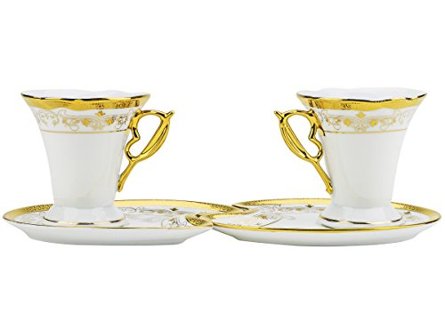 Majestic Porcelain CSG12, Six 4 Oz. Porcelain Gold-Plated Cups with Saucers, Wedding Gift Box Vintage Coffee Set of 12 + Complimentary Gift Pen
