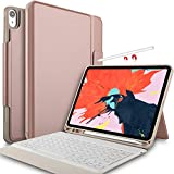 IVSO Case with Keyboard for ipad pro 12.9 2018-3rd Gen One-Piece Wireless Keyboard Stand Case [Auto Wake Sleep] [Apple Pencil Charging Supported] Fit for Apple ipad pro 12.9 2018 (Rosegold)