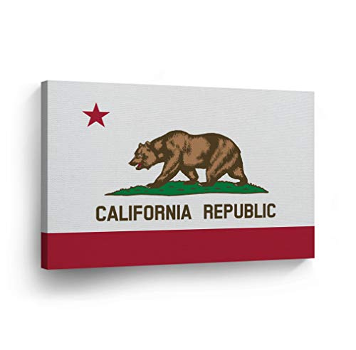 (California State Flag Canvas Print State Capital of The USA Flag Canvas Wall Art US State Flag Wall Art Home Decoration Stretched Ready to Hang-%100 Made in The USA- 8x12)