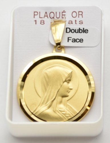 Large Lourdes Pendant / Medal - 18 Carat Gold Plated with Lourdes Prayer Card.