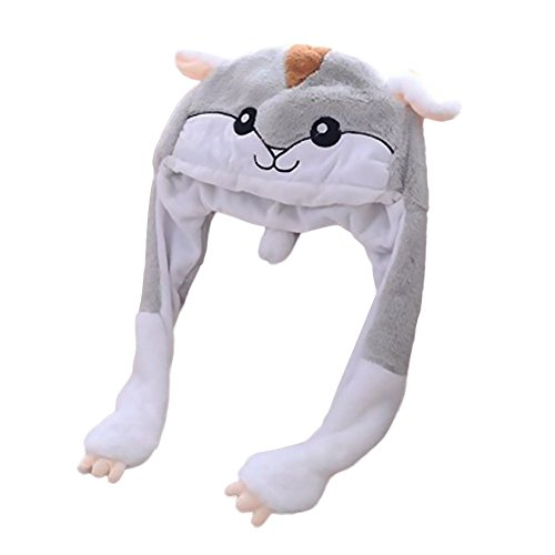 Lothver Funny Plush Hamster Hat Cap/Ear-movable Hamster Headgear Hat Photo Props Halloween Decorations Christmas Toys ()