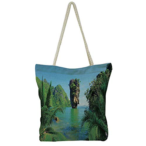 (Handbag Cotton and linen shoulder bag Small and fresh literature and art,Island,Koh Kaeo Island at Ocean With Boats Floating Near Shoreline Romantic Picture,Blue Green White,Picture Print Design.)