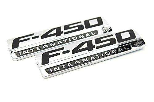 Truck Emblem Warehouse 2 New (Pair) Set Custom Chrome F450 Powerstroke International Fender Badges Pair