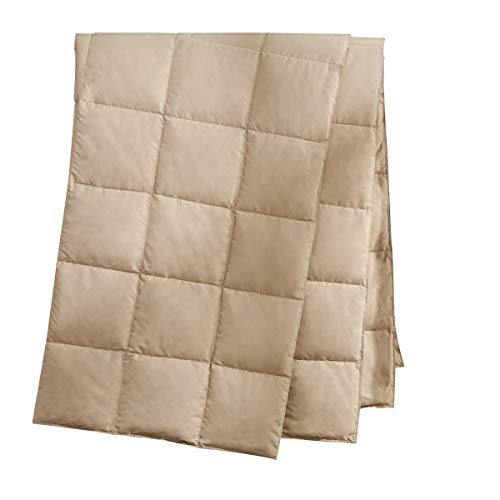 puredown Natural Down Packable Throw Sport Blanket for Indoor Home and Outdoor use Peach Skin Fabric for Downproof Khaki 50