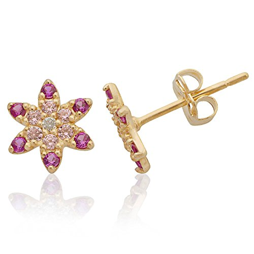 Star Flower Pink White and Red CZ Earrings in Stunning 14K Yellow Gold for Women and Girls by Jewel Connection