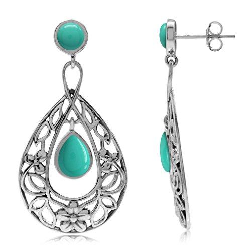 (Silvershake Created Green Turquoise 925 Sterling Silver Flower Leaf Filigree Drop Dangle Earrings)