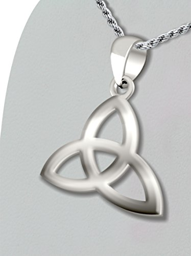 0.925 Sterling Silver Irish Celtic Triquetra Knot Pendant 2mm Curb Necklace, 24in by US Jewels And Gems (Image #2)