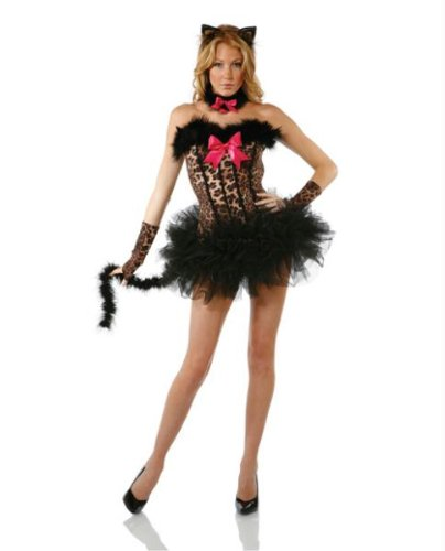 Forplay Women's Miss Meow Costume Set, Brown, (Miss Meow Costume)