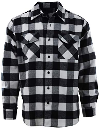 Mens Premium Button Down Flannel Long Sleeve Shirt (Many Patterns and Styles to Choose from) (X-Large, A1-Black/White)