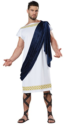 [California Costumes Men's Grecian Toga, White/Navy, Medium] (Grecian Sandals Costume)