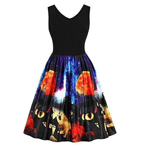 DongDong 2018 Womens Halloween Dress, Sleeveless Black cat Ghost Printed Vintage Swing Dress