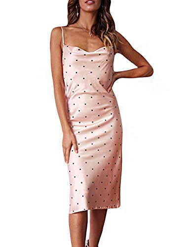 Women Silk Satin Sleeveless Camisole Dress Sexy Satin Dot V Neck Cold Shoulder Backless Slim Chemise Nightdress