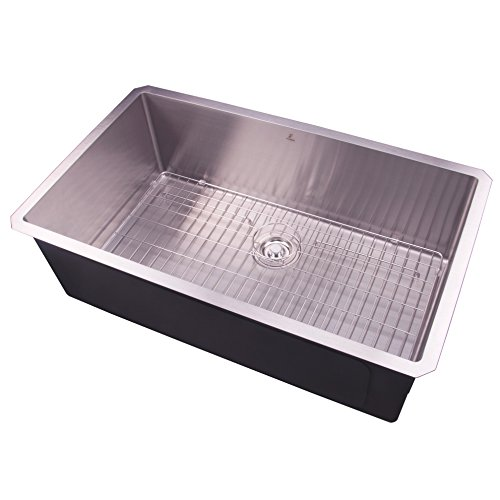 32 Undermount Single Bowl Handmade Stainless Steel Deep Basin Kitchen Sink with Grid and Strainer,S3219