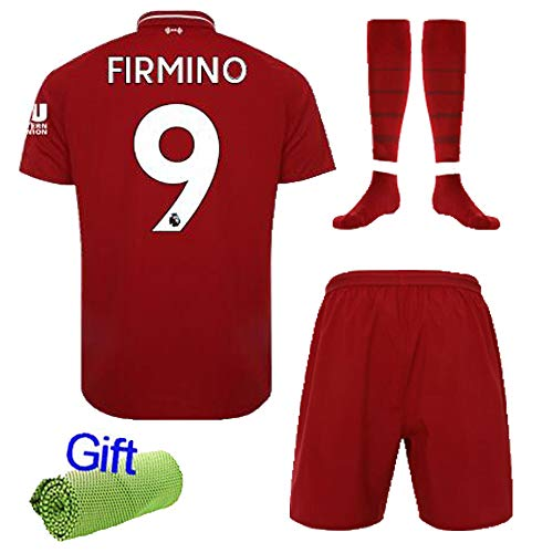 FC FirstClass 2019 Football Soccer Kids Home Kit Red Jersey & Shorts &Socks &Ice Face Cloth 3-12 Years Sportwear Suit (11-12 years, FIRMINO 9)