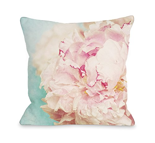 One Bella Casa 73708PSHM Delicate Peony Pillowcase by OBC, Standard, Turquoise/Pink (Pillow Peony)