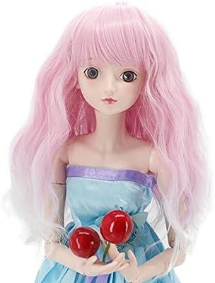 """1//3 SD DD Doll BJD Fabric Fur Wig Soft Pink Straight Wig 8-9/"""" 22-23cm Cute Wigs"""