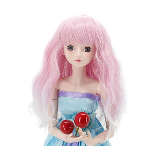 Wigs Only! Soft Pink Purple Blend Bottom Curls Doll Hair Wig for 1/3 BJD Dolls with 9-10inch Head Heat Resistant Fiber Can Self-Style Leeswig