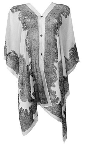 Marilyn & Main Women's Lightweight Button Down Kimono Poncho Blouse (One Size, White)