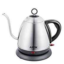 Aicok Gooseneck Electric Kettle, Stainless Steel Drip Kettle for Pour Over Coffee and Tea 34oz, 1L