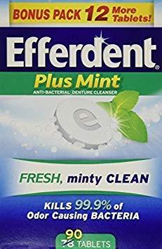Efferdent Plus Mint Anti-Bacterial Denture Cleanser Tablets, 90 Count - Buy Packs and SAVE (Pack of 2) - Efferdent Plus Tab
