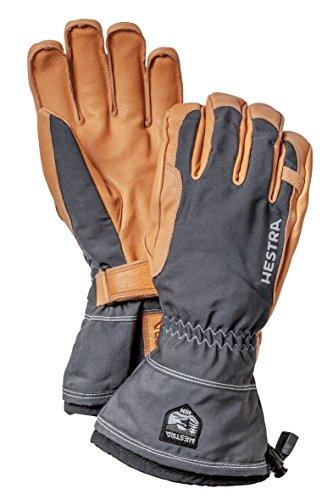 (Hestra Winter Ski Gloves: Narvik Wool Terry Removal Liner Leather Gloves, Grey, 10)
