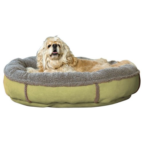 "Green 27"" Green 27"" Carolina Pet Company Faux Suede Round Comfy Cup Pet Bed Sage 27x24x6"