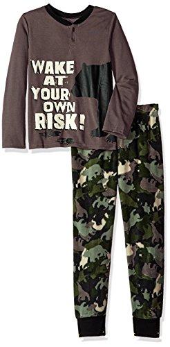 Komar Kids Boys' Big 2 Piece Microfleece Pajama Set, Bear camo, Medium ()