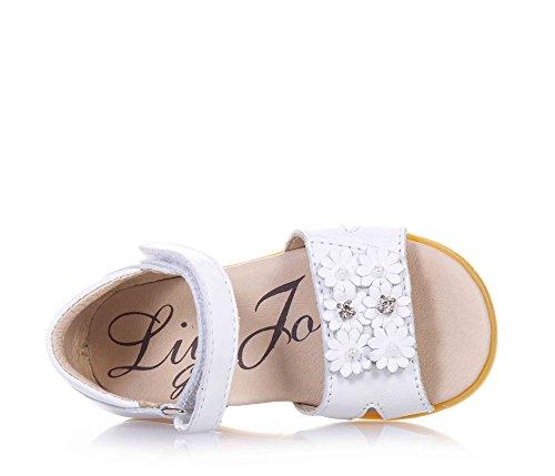 LIU JO - Sandale blanche en cuir, avec fermeture en velcro, petites fleurs décoratives appliquées sur la partie frontale, coutures visibles, bébé fille