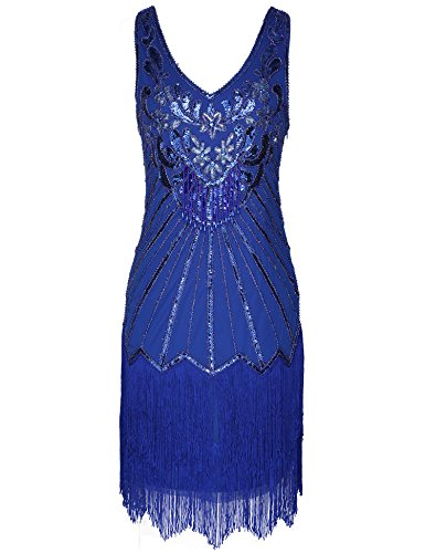 1920s Great Gatsby Neck Dress Women's Flapper Beaded Blue Dress Fringed V RwTnECfq