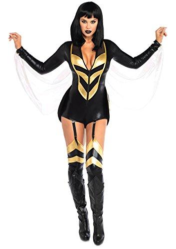 Leg Avenue Womens Hornet Honey Halloween Costume, Black/Gold Medium