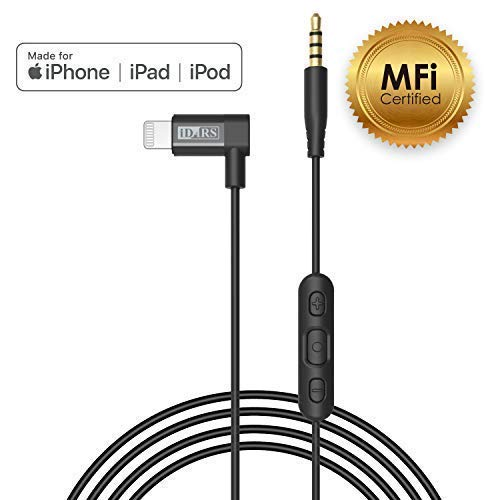 iDARS Apple MFi Certified 2.5mm Lightning AUX Cable Lightning Audio Cable with Mic & Remote Control Made for Bose QC35/QC25 AKG Y50/Y500 Sennheiser PXC550 JBL to iPhone Xs/XS MAX/XR/X/8/8Plus/7/7Plus ()