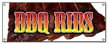 Bbq Ribs Banner Sign Barbque Bar B Q Bbq Pork Smoked Southern Texas Beef
