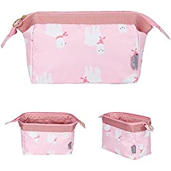 Makeup Bag/Travel Cute Cosmetic Pouch Storage/Brush Holder Toiletry Kit Fashion Women and Girl Waterproof Jewelry Organizer with Zipper Pencil Carry Case Portable Cube Purse (Alpaca Pink)