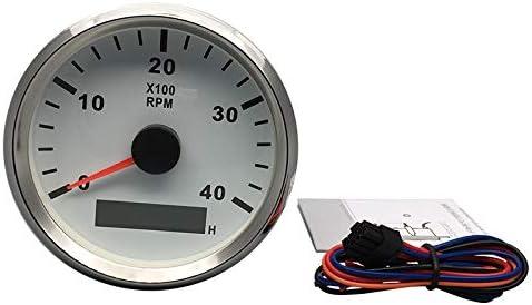 Tachometer Drehzahlmesser mit Stunde Meter f/ür Auto Truck Boot Yacht 0 4000RPM 85/mm mit Hintergrundbeleuchtung