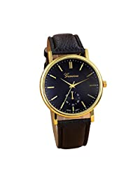 Lowpricenice New Unisex Leather Band Analog Quartz Vogue Wrist Watch Watches Black