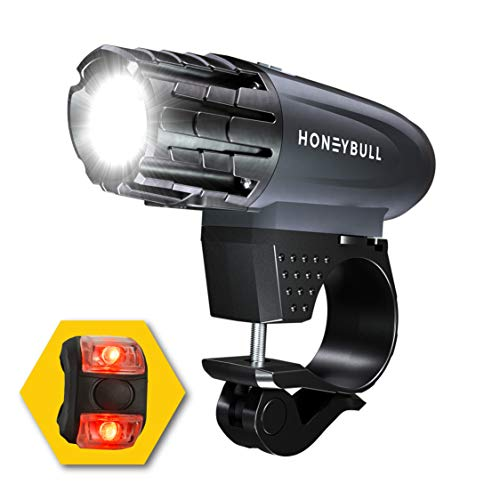 HONEYBULL LED Bike Light (Free Tail Light Included) Powerful Lumens Bicycle Headlight | USB Rechargeable & Waterproof | Easy to Install & Works for Mountain, Road, and All Bikes