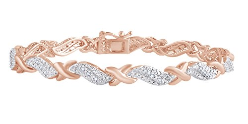 Christmas Sale 0.25 CT Round White Natural Diamond XO Tennis Bracelet In 14k Rose Gold Over Sterling Silver- 7.5