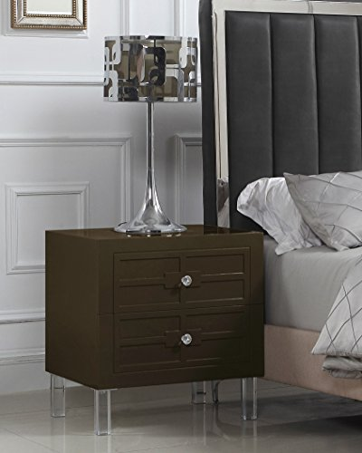 Iconic Home Naples Nightstand Side Table with 2 Self Closing Drawers Lacquer Acrylic Knob Legs, Modern Contemporary, Brown