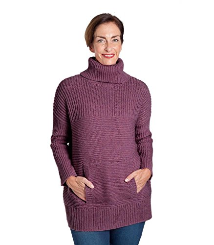 Wool Roll Neck Sweater (WoolOvers Womens Lambswool Chunky Roll Neck Sweater Raspberry Marl Nep, XL)