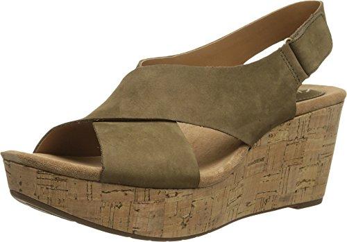 CLARKS Women's Caslynn Shae Wedge Sandal, Khaki, 8.5 M US