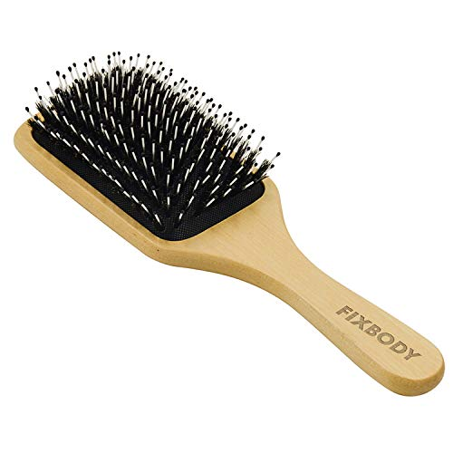 FIXBODY Boar Bristle Hair Brush Natural Wooden Handle Anti-Static Large Paddle Hairbrush Detangling & Styling All Hair Types for Women Men and Kids (Square)