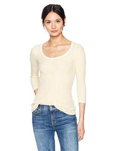Fire White Cotton Spandex - Three Dots Women's Fireside Thermal Scoop Tee Tight Short Shirt, Cream, Small