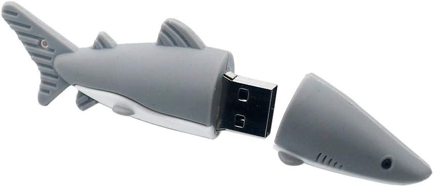 FAgdsyigao 512MB/1G/2G/4G/8G/16G/32G/64G Shark Pattern U Disk, USB Flash Drive Memory Stick for PC Computer 16G